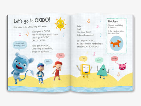 double page spread inside OKIDO magazine