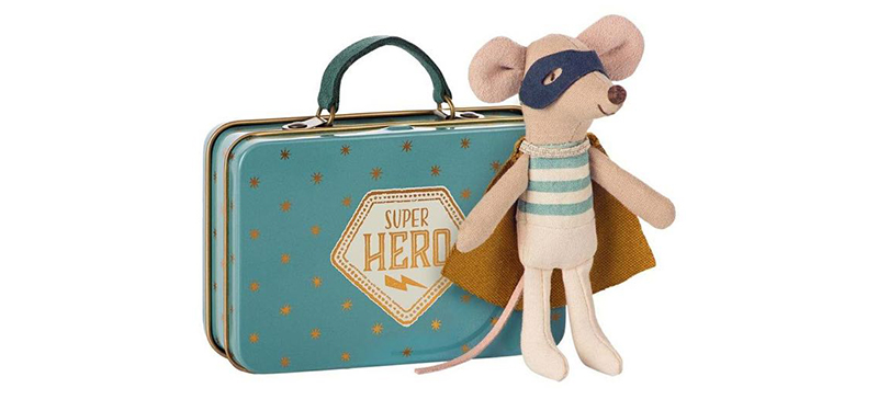 Maileg Superhero Mouse and Suitcase