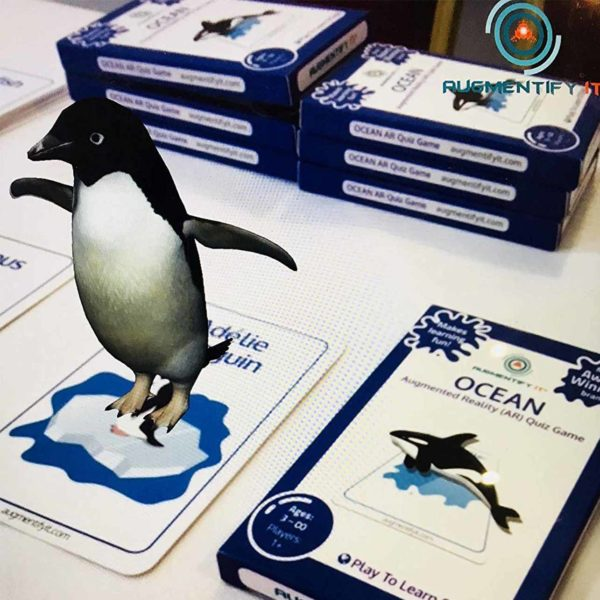 OKIDO AugmentifyIt AR OCEANS Cards Example: Penguin